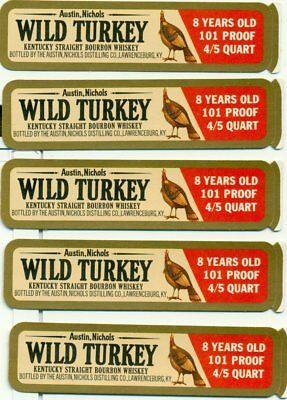 Wild Turkey First Series Decanter Labels----( Lot Of 5 )