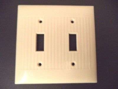 Sierra vintage mid century lines ribbed double toggle switch plate cover ivory
