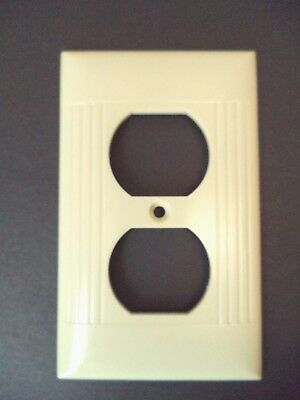 Sierra vintage mid century lines ribbed ivory duplex outlet switch plate cover