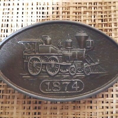 "Vtg Train LOCOMOTIVE RR Railroad PEWTER  BELT BUCKLE ""1874"" STEAM ENGINE Oval"