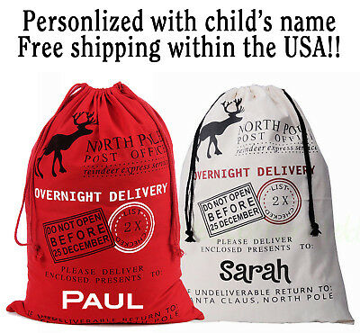 Put Their Presents In A Personalized Santa Sack- Free Shipping!!