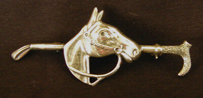 Vintage Sterling Silver Equestrian Pin - Horse, Bridle, & Riding Crop