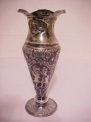 Superb 19th c. Solid Sterling Silver Ornate Repousse Vase with Mural Scenes 7.5""