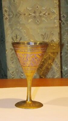 "Small Ingraved Solid Brass / Shot Glass/ Incense Cup Burner, 4"" high/decor"