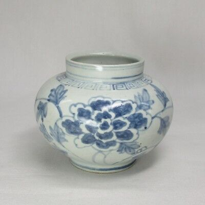 D324: Korean Joseon-Dynasty style blue-and-white porcelain vase of BUN-IN style