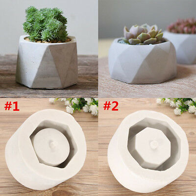 Handmade Geometric Silicone Flower Pots Mold Concrete Cement Planter Vase Craft