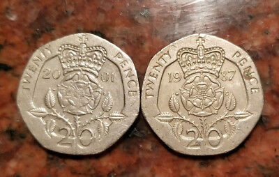 Lot Of (2) Great Britain 20 Pence Coin - #1715