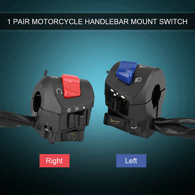 Left&Right 22mm Black Motorcycle Handlebar Horn Turn Signal Light Control Switch