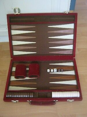 Full Size Backgammon Set In A Suede Covered Case