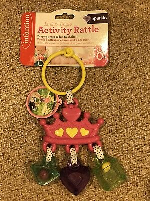 Infantino Link and Jingle Activity Rattle Baby Toy Pink Crown Girl