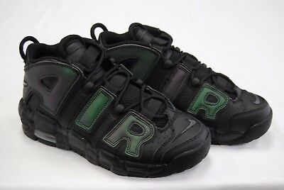 [922845 001] New Nike Kid's Gs Air More Uptempo Black Wolf Grey Reflective K3373
