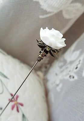 Victorian Hat Pin Vintage Inspired White Rose Bead Antique Brass Fittings