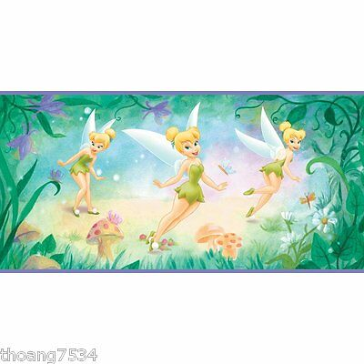 DISNEY Tinkerbell Fairy Garden Butterfly Purple Peel Self Stick Wallpaper Border
