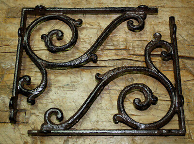 2 Cast Iron Antique Style LARGE IVY SCROLL Brackets Garden Braces Shelf Bracket