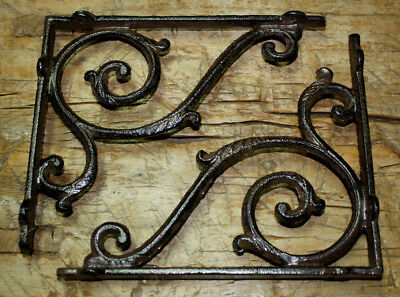 4 Cast Iron Antique Style LARGE IVY SCROLL Brackets Garden Braces Shelf Bracket