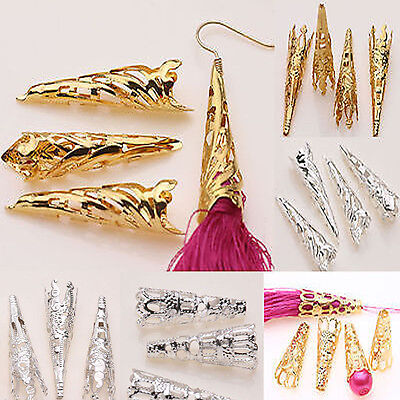Lots 25/50PCS Bead Caps Gold Silver Plated Cone Horn Spacer Jewelry Finding DIY