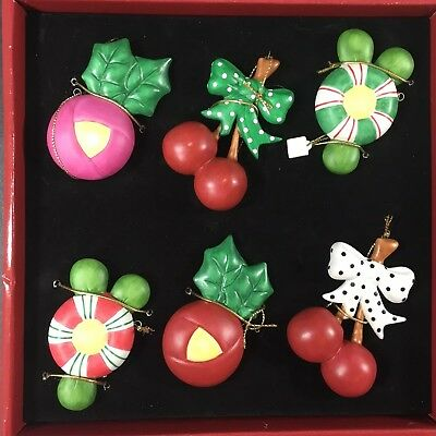 Mary Engelbreit Little Christmas Collection Ornament Set in Box Retired Ceramic