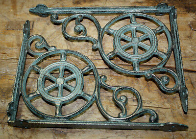 6 Cast Iron NAUTICAL SHIPSWHEEL Brackets Garden Brace Shelf Bracket PIRATES Ship