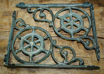 4 Cast Iron NAUTICAL SHIPSWHEEL Brackets Garden Brace Shelf Bracket PIRATES Ship