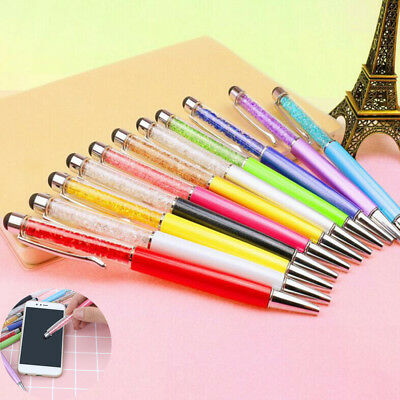 2 in 1 Crystal Ballpoint Capacitive Stylus Touch Screen Pen For iPhone Tablet PC