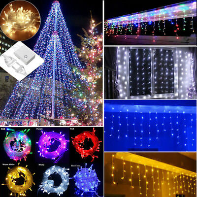 3M~100M 96-1000 LED Christmas Icicle Curtain Fairy String Lights Outdoor Wedding
