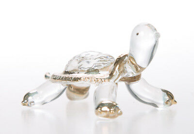 Turtle Clear Cute Hand Blown Blowing Glass Art Animal Fancy Collectibles Gift