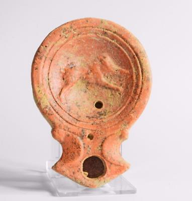 Roman 1st century oil lamp with running wild boar