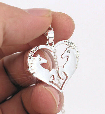 HORSE & WESTERN JEWELLERY JEWELRY LADIES HEART HORSE PENDANT NECKLACE SILVER b