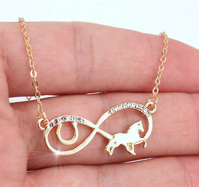Horse & Western Jewellery Jewelry Ladies Infinity Horse Pendant Necklace Gold