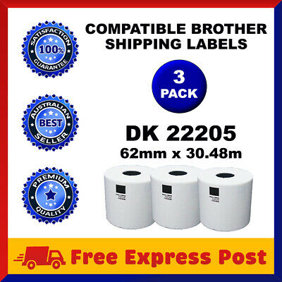 3 Rolls Brother Compatible DK-22205 White Continuous Label for QL-570 QL-700