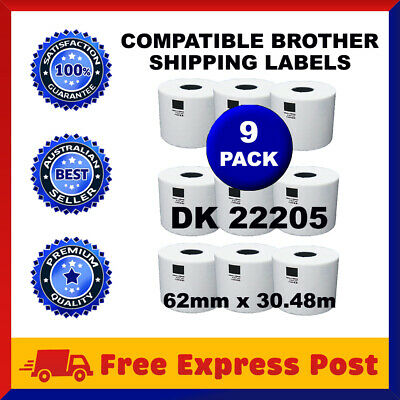 9 Rolls Brother Compatible DK-22205 White Continuous Label for QL-570 QL-700