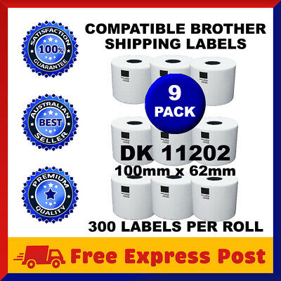9 Rolls Brother Compatible DK-11202 White Label for QL-570 QL-700 62x100mm