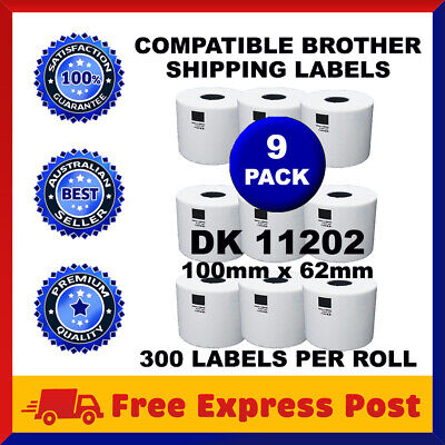 9 Rolls Compatible Brother DK-11202 White Label for QL-570 QL-700 62x100mm