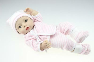 """16"""" Handmade Reborn Full Body Silicone Doll Lifelike Cute Weighted Baby Girl Toy"""