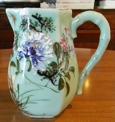 Antique Hand Painted  Embossed Porcelain Pitcher Vase Spring Flowers Blossoms