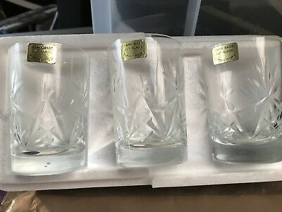 6 X Cut Glass Vintage Hand Made Whiskey Glasses