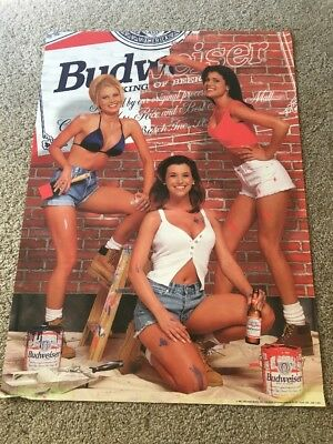 Budweiser Beer 1997 Girls Hot Sexy Painting  Poster