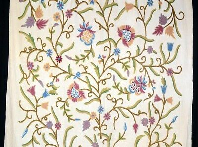 fabric drapery upholstery curtain wool embroider crewel 5 yd off white vintage