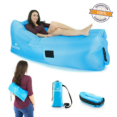 Cozyful Indoor or Outdoor Air Lounger   Portable & Waterproof Air Bed-BLUE