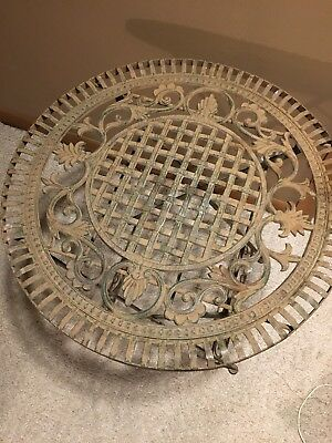 Vintage Heavy Metal Ornate Cast Iron Folding Round Table Patio Garden