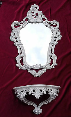 Wall Mirror + Storage Console Set Mirror 50X76 Antique Baroque White Silver 118S