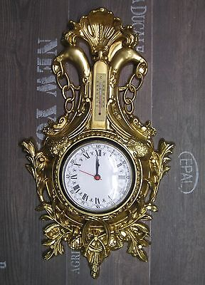 Wall Clock Swan in Gold with Thermometer Antique Look 38x65cm Baroque Quartz 5
