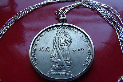 """1965 USSR Russian Warrior Victory Rouble Pendant on a 24/"""" 925 Silver Chain"""