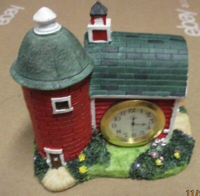 Red Barn Farm With Cow Polystone Clock Office Garage or Den