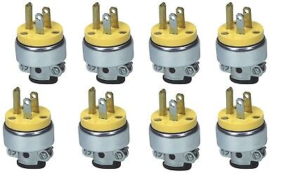 8 Heavy Duty Male Replacement Electrical Plug Ends 3 Prong 15A 110V 125V UL