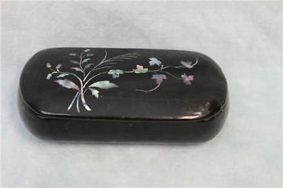 "3-3/4"" long Antique Black lacquer Snuff box Abalone Lid Ex. Cond. Ca.1870"