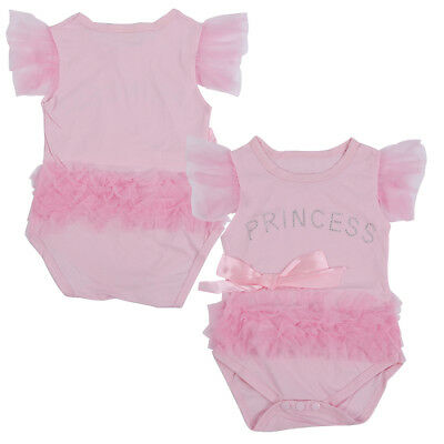 5X(SR cute&fashion Baby romper Girl's Wear The lovely princess p bow lace Romper