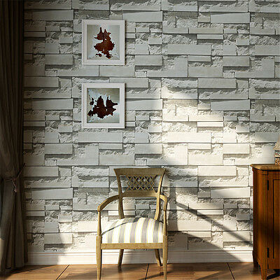10M 3D Retro Brick Wall&paper Roll Textured Non-woven Flocking Home Wall Paper