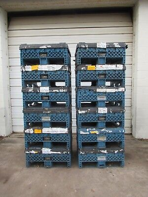 """12 Ropak Stackable Collapsible Shipping Container Bin Tote W/ Lids 30""""x32""""x25"""""""