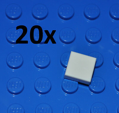 Lego Parts - 20X White Tiles 1X1 Studs/flat Smooth Building Pieces/snow 3070
